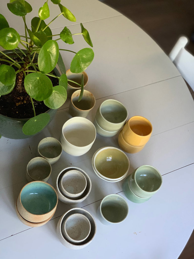 Variety of glazed pots
