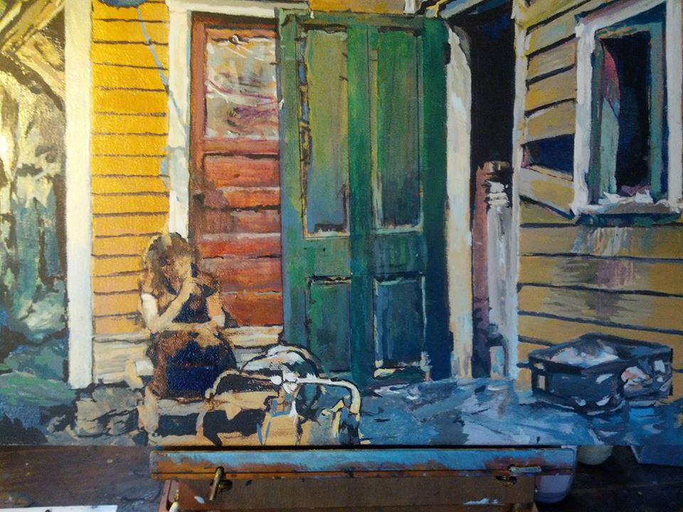 Back Porch - On Easel